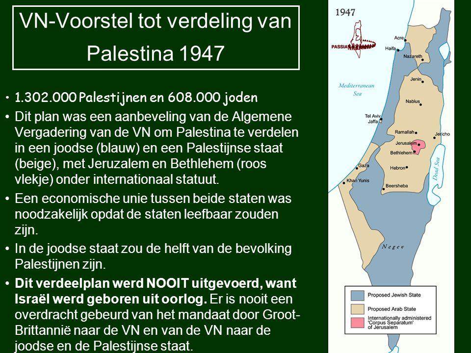 VN-Voorstel tot verdeling van Palestina 1947 1.302.000 Palestijnen en 608.000 joden Dit plan was een aanbeveling van de Algemene Vergadering van de VN