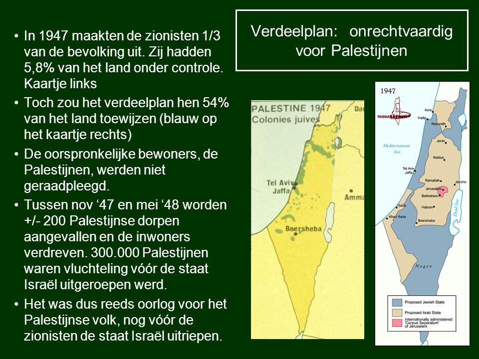 Verdeelplan: onrechtvaardig voor Palestijnen In 1947 maakten de zionisten 1/3 van de bevolking uit. Zij hadden 5,8% van het land onder controle. Kaart