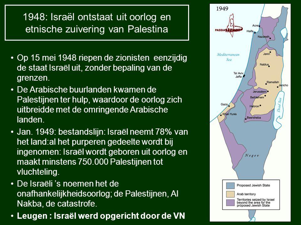 1948: Israël ontstaat uit oorlog en etnische zuivering van Palestina Op 15 mei 1948 riepen de zionisten eenzijdig de staat Israël uit, zonder bepaling