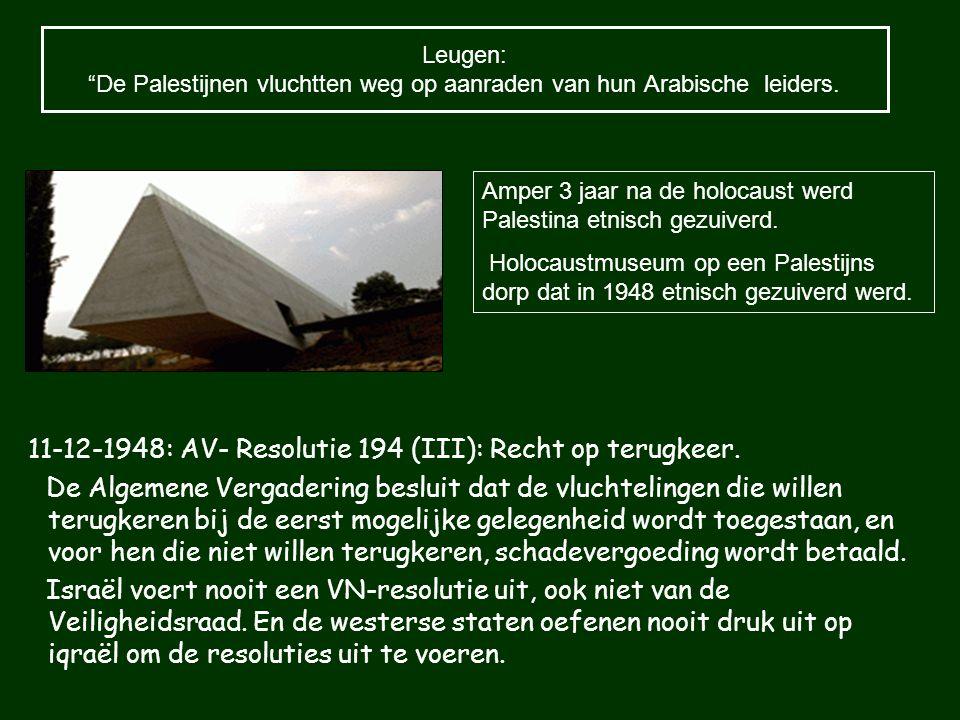 11-12-1948: AV- Resolutie 194 (III): Recht op terugkeer. De Algemene Vergadering besluit dat de vluchtelingen die willen terugkeren bij de eerst mogel