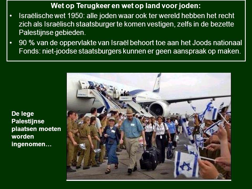 Wet op Terugkeer en wet op land voor joden: Israëlische wet 1950: alle joden waar ook ter wereld hebben het recht zich als Israëlisch staatsburger te