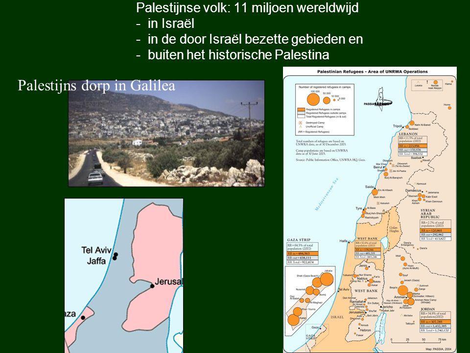 Palestijnse volk: 11 miljoen wereldwijd - in Israël - in de door Israël bezette gebieden en - buiten het historische Palestina Palestijns dorp in Gali