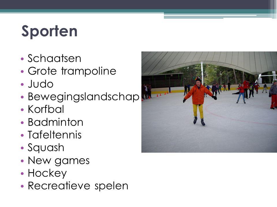 Sporten Schaatsen Grote trampoline Judo Bewegingslandschap Korfbal Badminton Tafeltennis Squash New games Hockey Recreatieve spelen