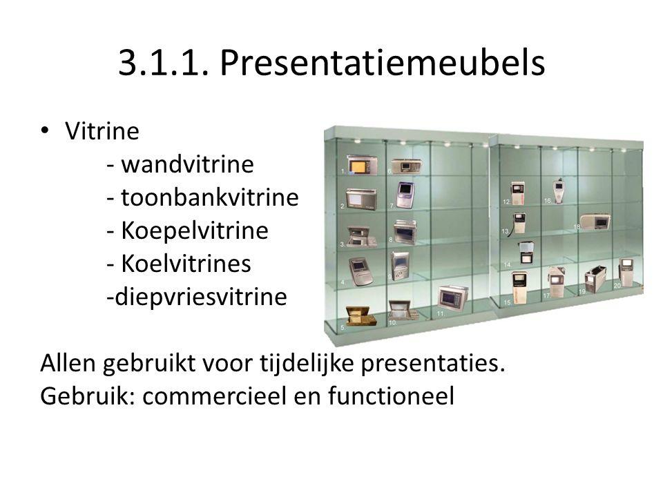 3.1.1. Presentatiemeubels Vitrine - wandvitrine - toonbankvitrine - Koepelvitrine - Koelvitrines -diepvriesvitrine Allen gebruikt voor tijdelijke pres