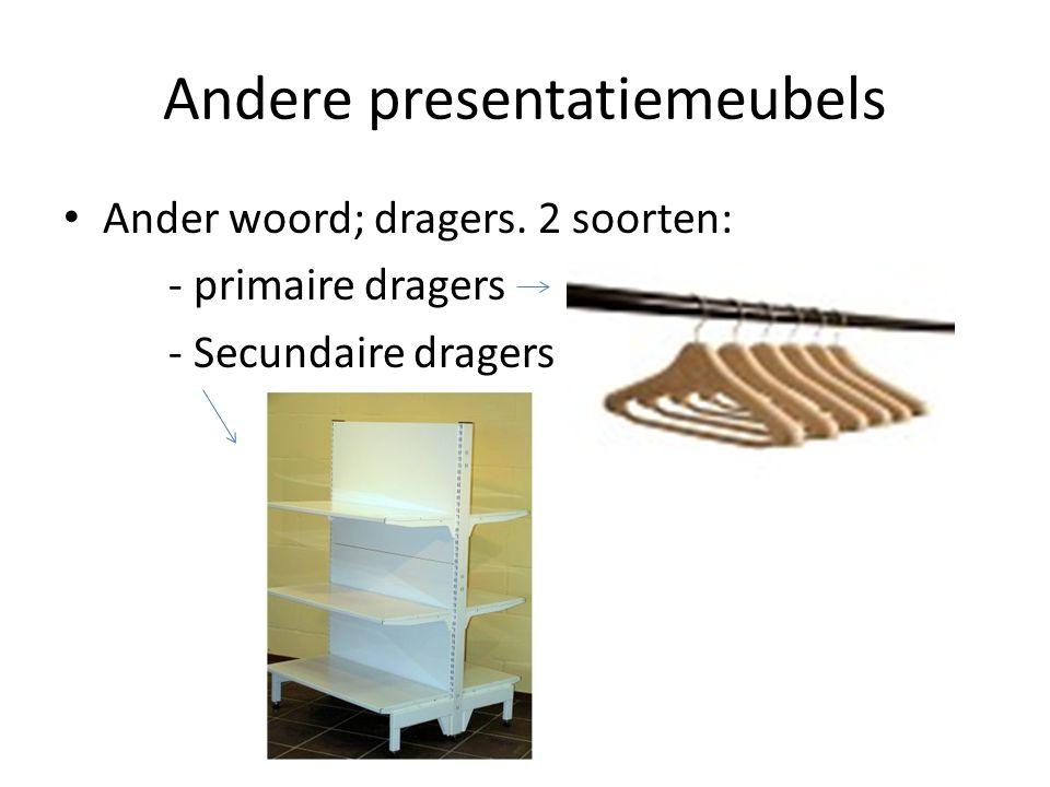 Andere presentatiemeubels Ander woord; dragers. 2 soorten: - primaire dragers - Secundaire dragers