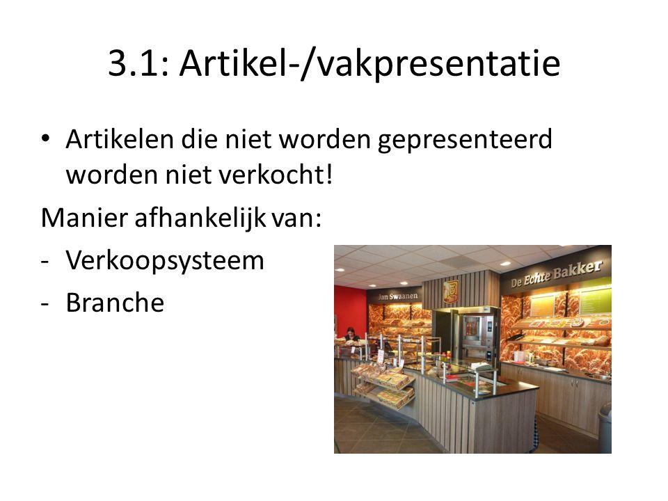 3.1: Artikel-/vakpresentatie Artikelen die niet worden gepresenteerd worden niet verkocht! Manier afhankelijk van: -Verkoopsysteem -Branche