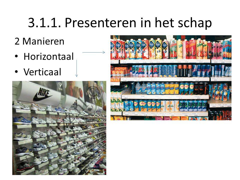 3.1.1. Presenteren in het schap 2 Manieren Horizontaal Verticaal