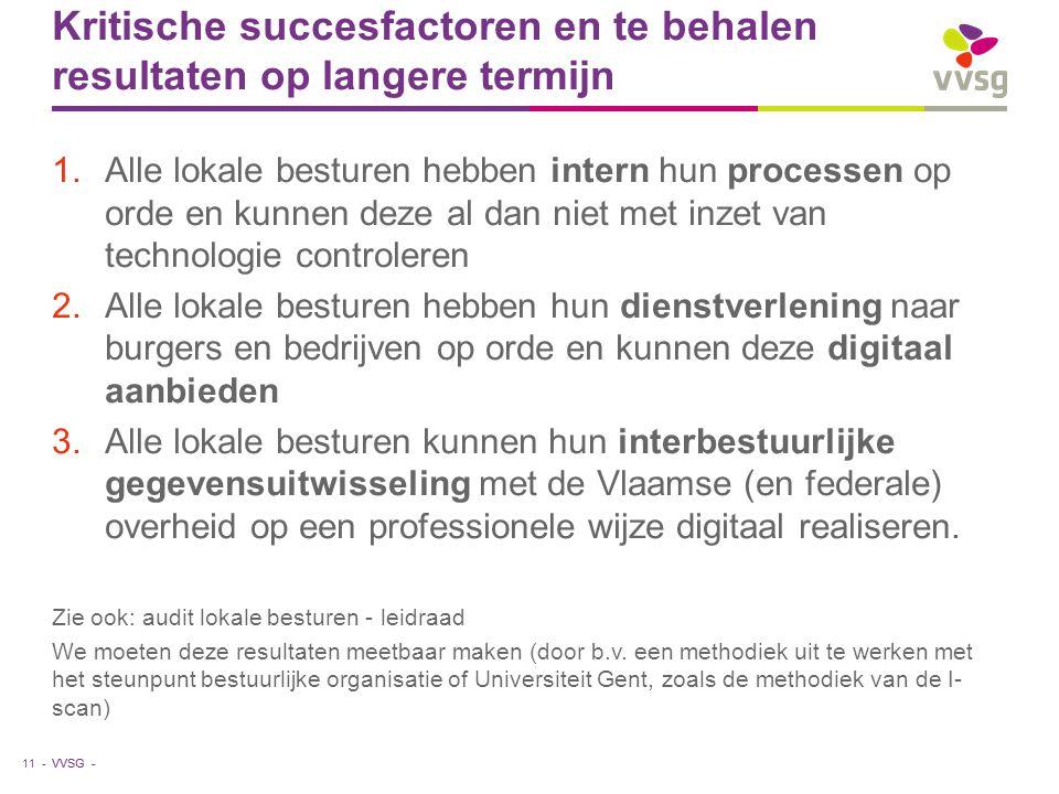 VVSG - Kritische succesfactoren en te behalen resultaten op langere termijn 1.Alle lokale besturen hebben intern hun processen op orde en kunnen deze