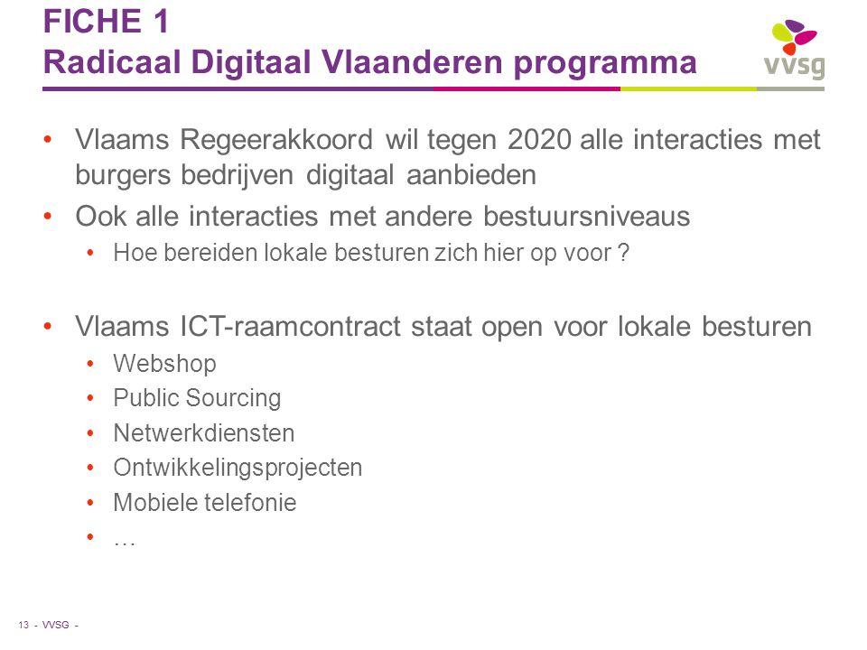 VVSG - FICHE 1 Radicaal Digitaal Vlaanderen programma Vlaams Regeerakkoord wil tegen 2020 alle interacties met burgers bedrijven digitaal aanbieden Oo
