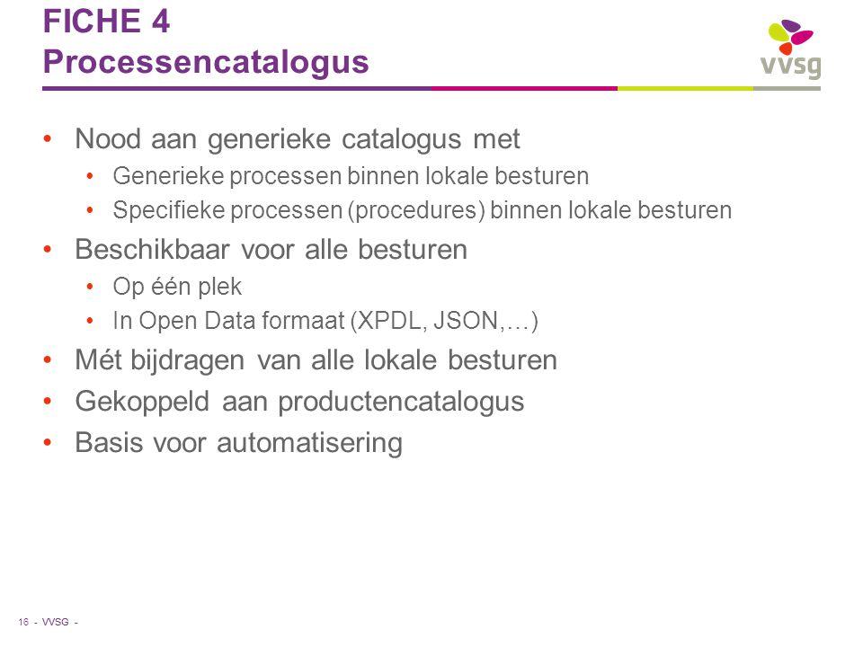 VVSG - FICHE 4 Processencatalogus Nood aan generieke catalogus met Generieke processen binnen lokale besturen Specifieke processen (procedures) binnen