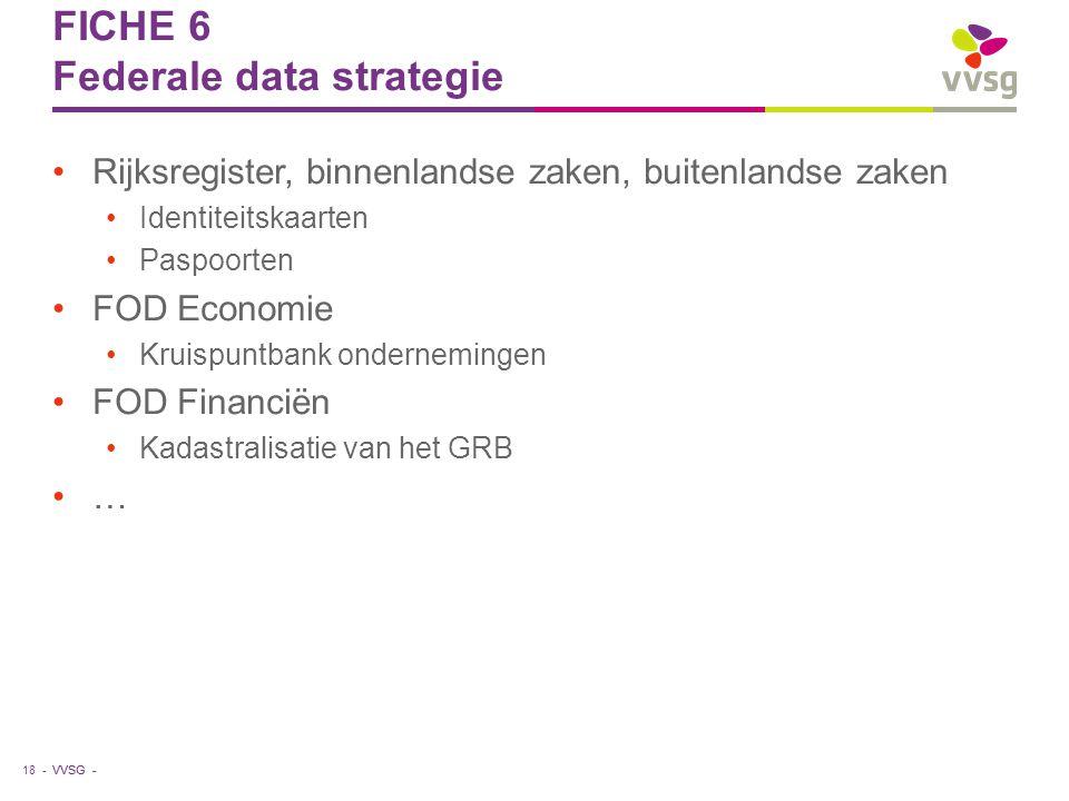 VVSG - FICHE 6 Federale data strategie Rijksregister, binnenlandse zaken, buitenlandse zaken Identiteitskaarten Paspoorten FOD Economie Kruispuntbank