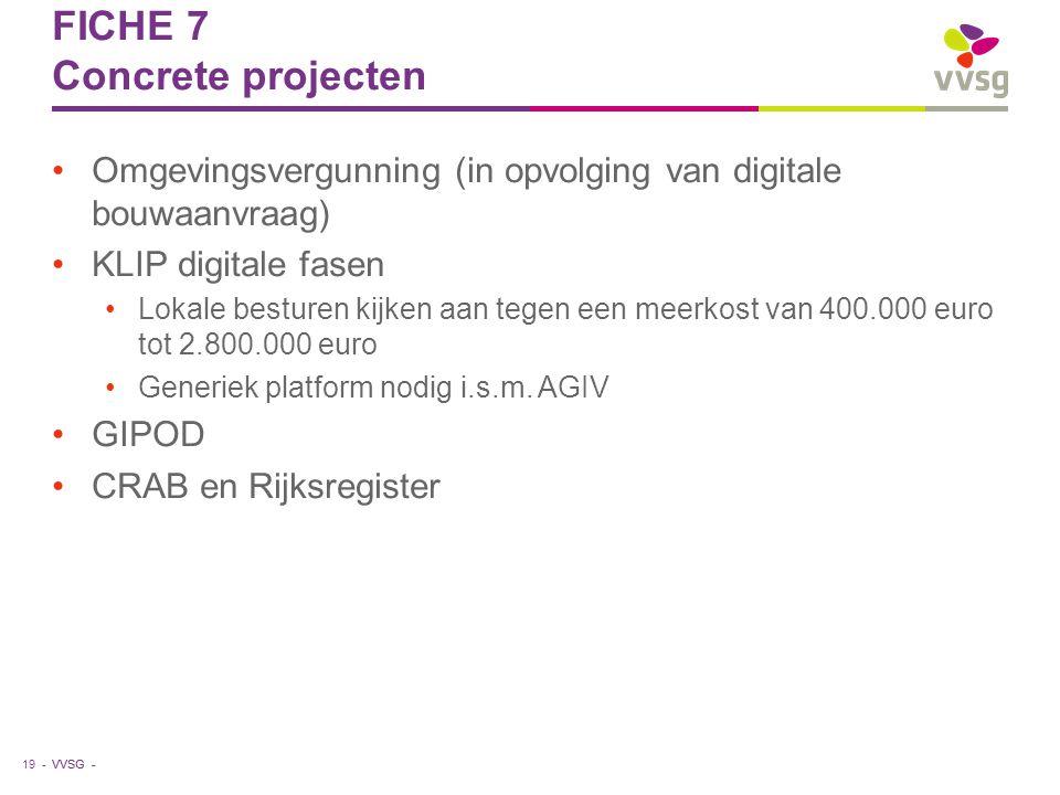 VVSG - FICHE 7 Concrete projecten Omgevingsvergunning (in opvolging van digitale bouwaanvraag) KLIP digitale fasen Lokale besturen kijken aan tegen ee