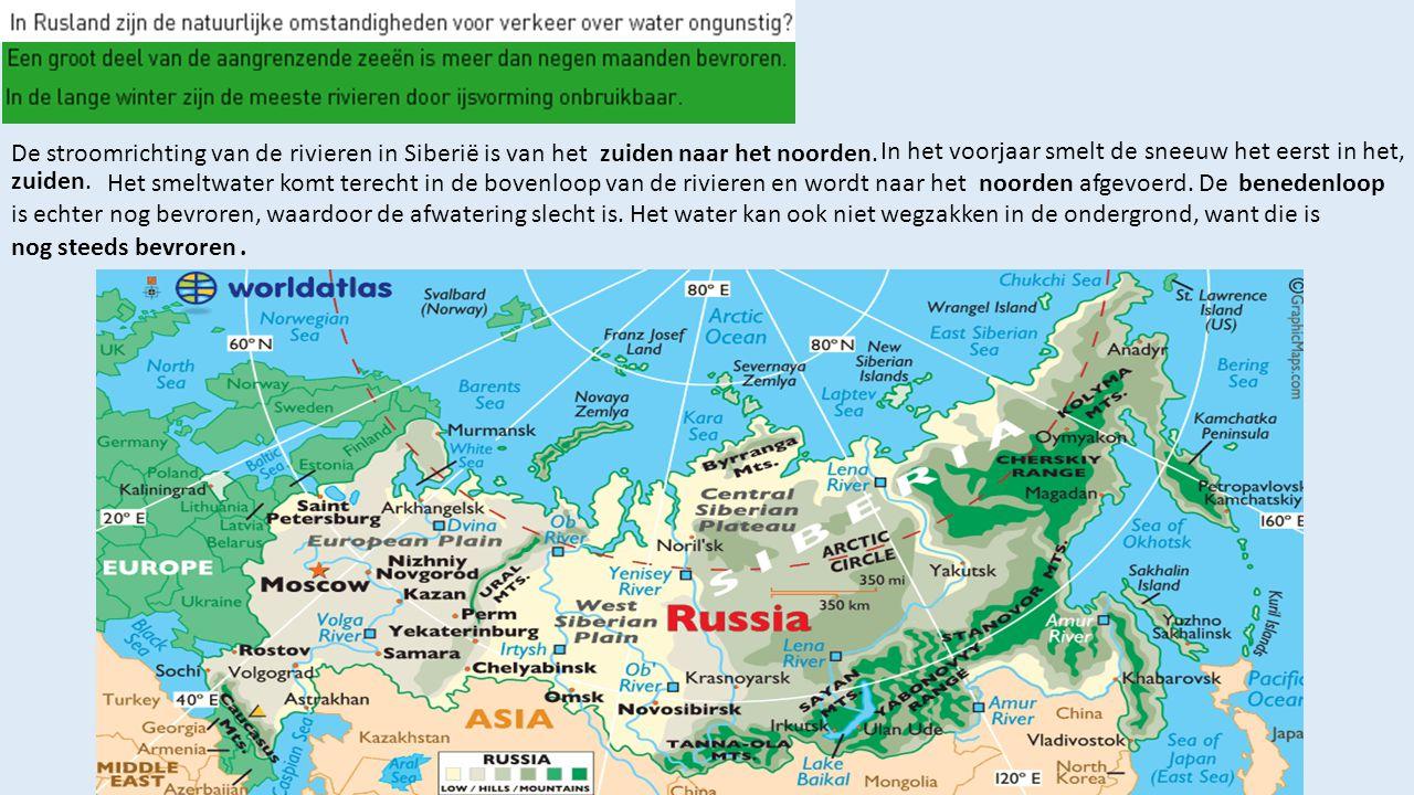 De stroomrichting van de rivieren in Siberië is van hetzuiden naar het noorden. In het voorjaar smelt de sneeuw het eerst in het, zuiden. Het smeltwat
