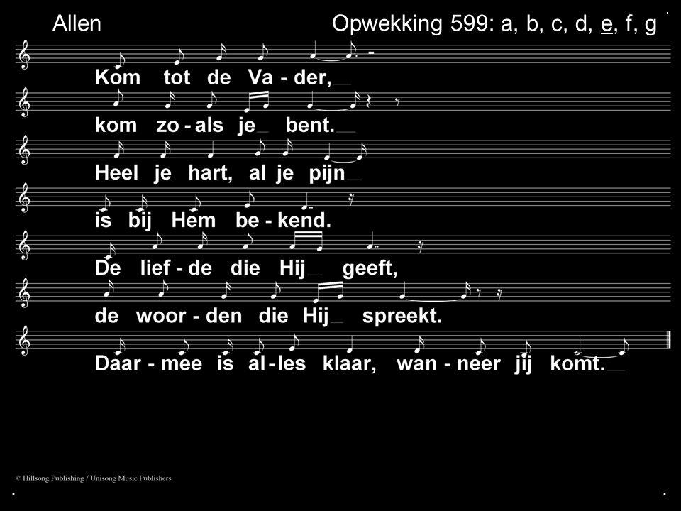 ... Opwekking 599: a, b, c, d, e, f, gAllen