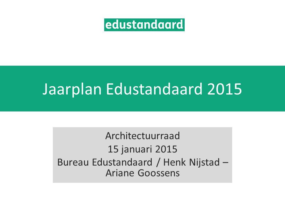 Jaarplan Edustandaard 2015 Architectuurraad 15 januari 2015 Bureau Edustandaard / Henk Nijstad – Ariane Goossens