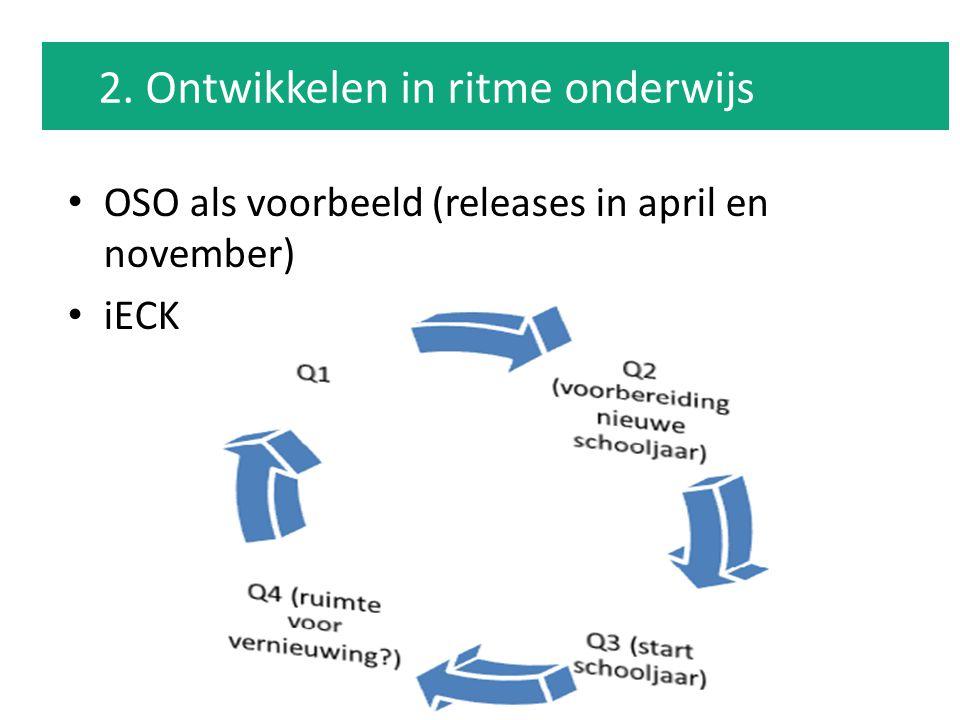 OSO als voorbeeld (releases in april en november) iECK 2. Ontwikkelen in ritme onderwijs