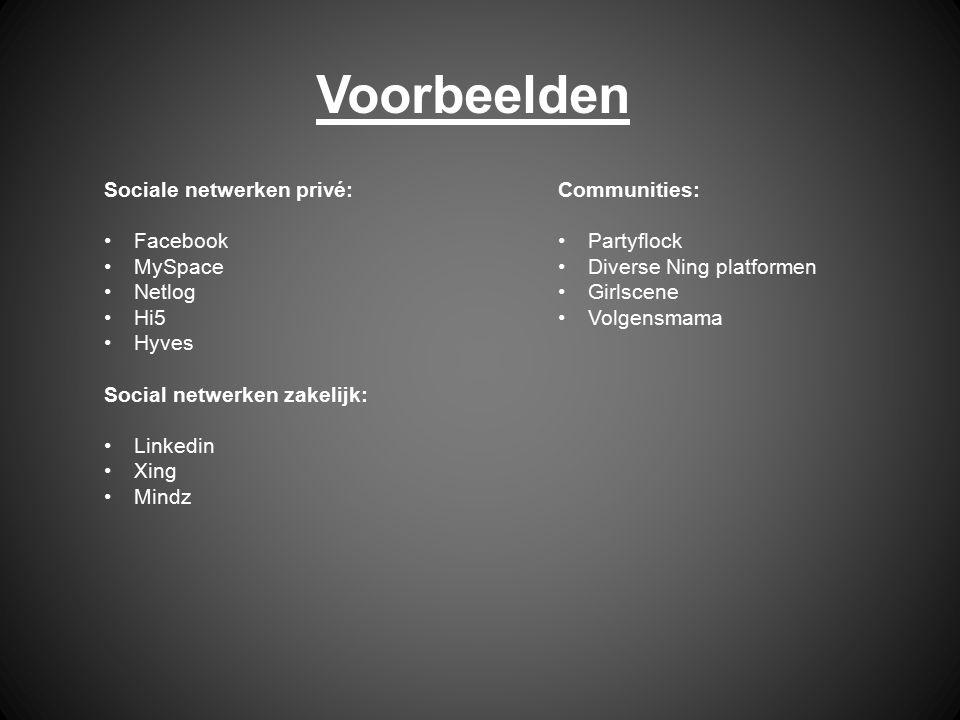 Voorbeelden Sociale netwerken privé: Facebook MySpace Netlog Hi5 Hyves Social netwerken zakelijk: Linkedin Xing Mindz Communities: Partyflock Diverse