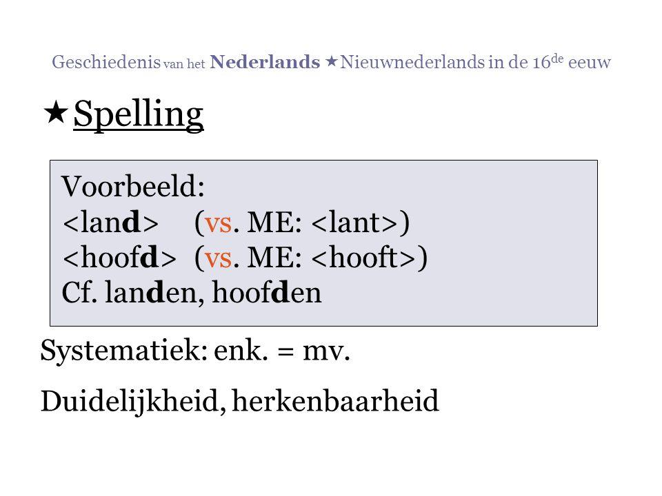 Geschiedenis van het Nederlands  Nieuwnederlands in de 16 de eeuw  Spelling Systematiek: enk. = mv. Duidelijkheid, herkenbaarheid Voorbeeld: (vs. ME