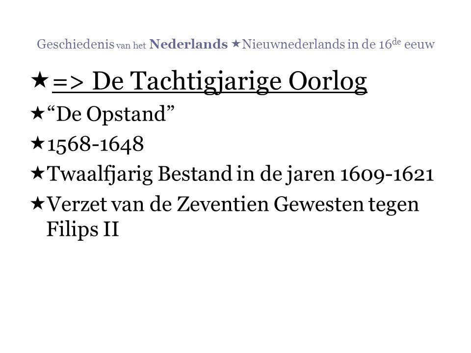 """Geschiedenis van het Nederlands  Nieuwnederlands in de 16 de eeuw  => De Tachtigjarige Oorlog  """"De Opstand""""  1568-1648  Twaalfjarig Bestand in de"""