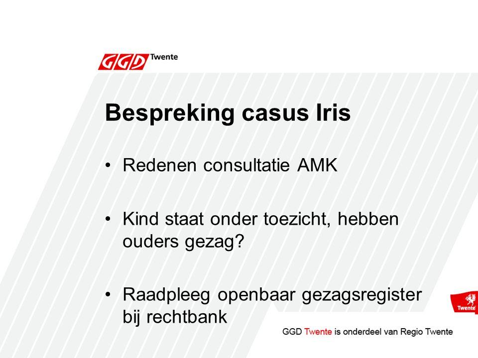 Bespreking casus Iris Redenen consultatie AMK Kind staat onder toezicht, hebben ouders gezag.