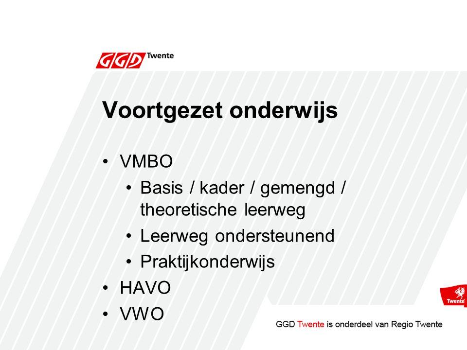 Voortgezet onderwijs VMBO Basis / kader / gemengd / theoretische leerweg Leerweg ondersteunend Praktijkonderwijs HAVO VWO