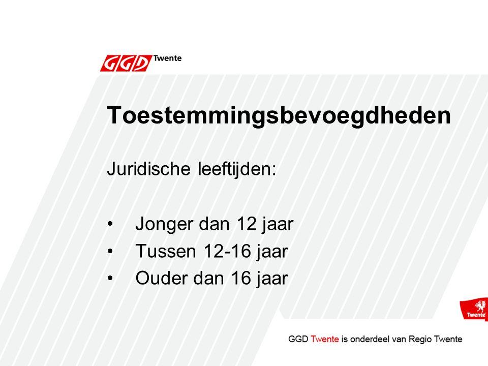 Toestemmingsbevoegdheden Juridische leeftijden: Jonger dan 12 jaar Tussen 12-16 jaar Ouder dan 16 jaar