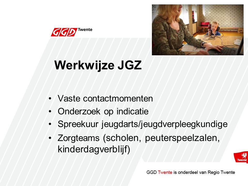 Werkwijze JGZ Vaste contactmomenten Onderzoek op indicatie Spreekuur jeugdarts/jeugdverpleegkundige Zorgteams (scholen, peuterspeelzalen, kinderdagverblijf)