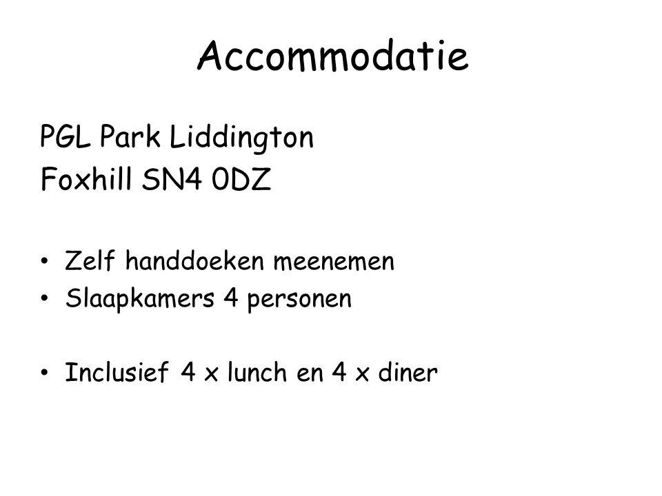 Accommodatie PGL Park Liddington Foxhill SN4 0DZ Zelf handdoeken meenemen Slaapkamers 4 personen Inclusief 4 x lunch en 4 x diner