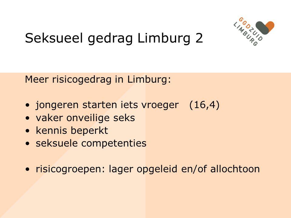 Seksueel gedrag Limburg 2 Meer risicogedrag in Limburg: jongeren starten iets vroeger (16,4) vaker onveilige seks kennis beperkt seksuele competenties