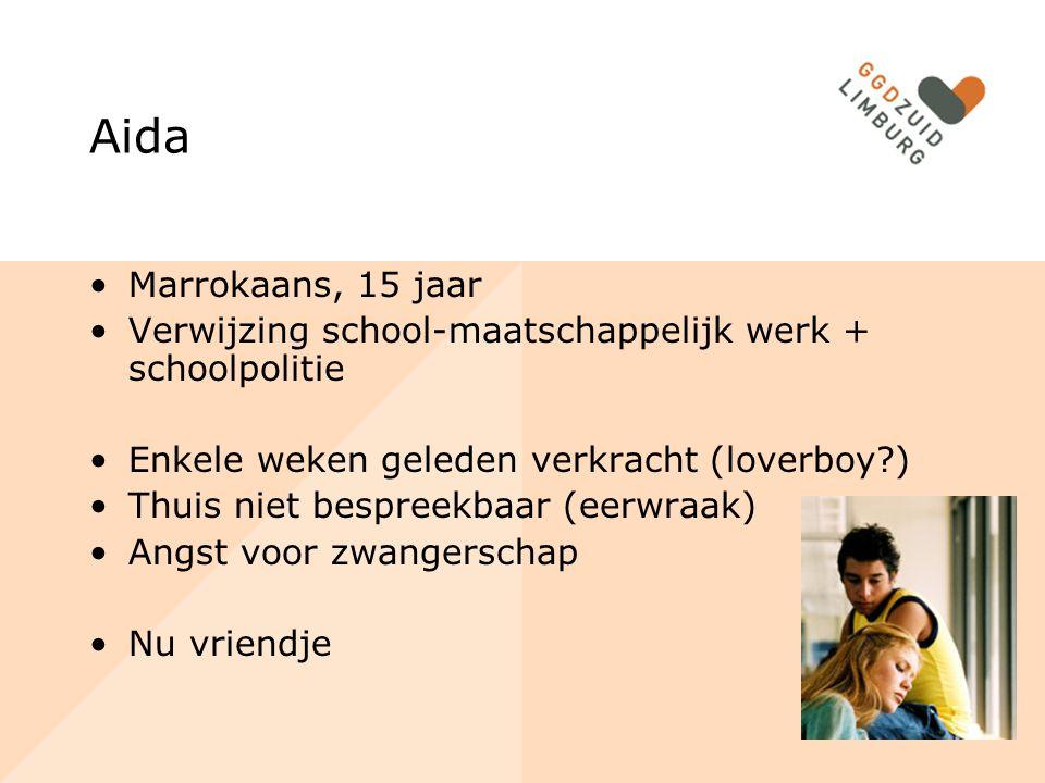 Aida Marrokaans, 15 jaar Verwijzing school-maatschappelijk werk + schoolpolitie Enkele weken geleden verkracht (loverboy?) Thuis niet bespreekbaar (ee