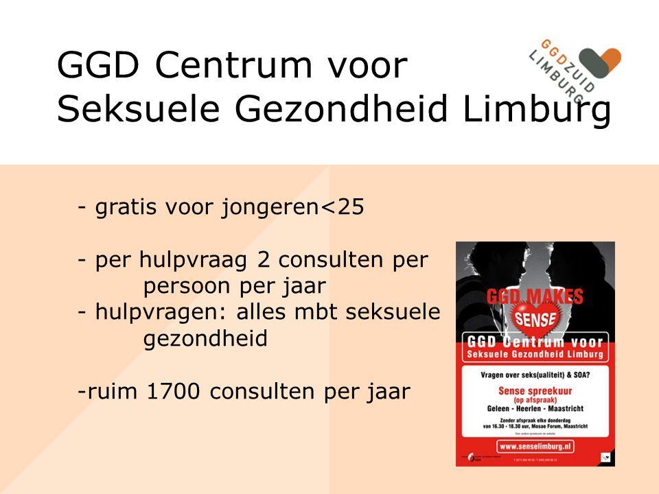 GGD Centrum voor Seksuele Gezondheid Limburg - gratis voor jongeren<25 - per hulpvraag 2 consulten per persoon per jaar - hulpvragen: alles mbt seksue