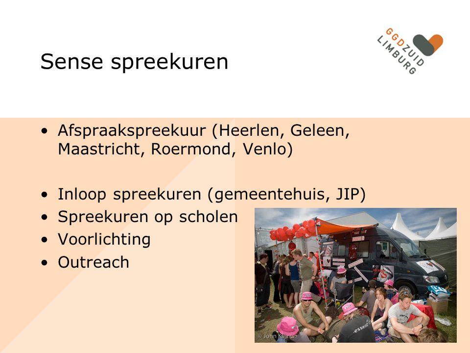 Sense spreekuren Afspraakspreekuur (Heerlen, Geleen, Maastricht, Roermond, Venlo) Inloop spreekuren (gemeentehuis, JIP) Spreekuren op scholen Voorlich