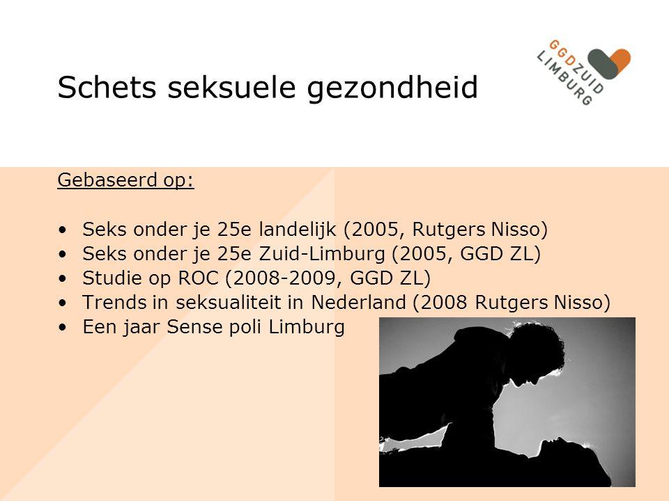 Schets seksuele gezondheid Gebaseerd op: Seks onder je 25e landelijk (2005, Rutgers Nisso) Seks onder je 25e Zuid-Limburg (2005, GGD ZL) Studie op ROC (2008-2009, GGD ZL) Trends in seksualiteit in Nederland (2008 Rutgers Nisso) Een jaar Sense poli Limburg