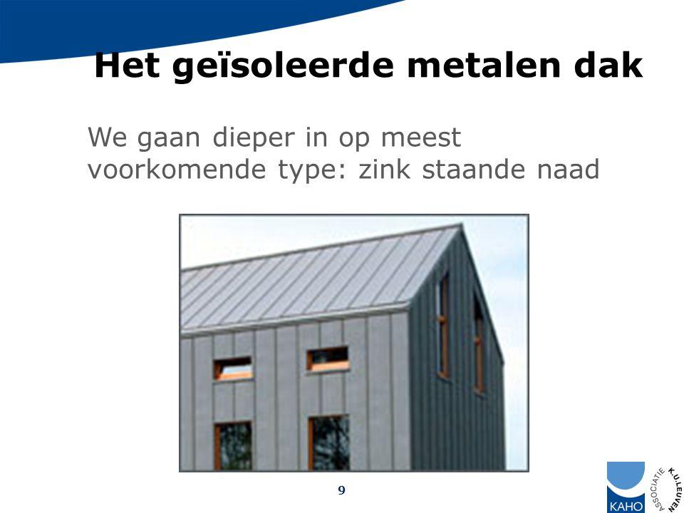 Het geïsoleerde metalen dak We gaan dieper in op meest voorkomende type: zink staande naad 9