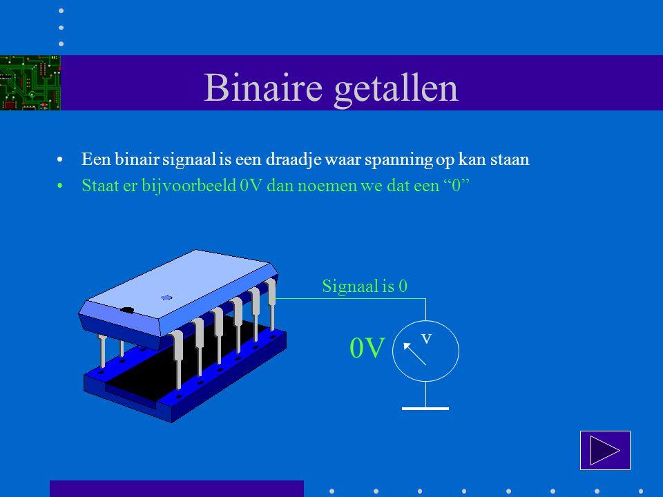Binaire getallen Een binair signaal is een draadje waar spanning op kan staan Staat er bijvoorbeeld 0V dan noemen we dat een 0 V 0V Signaal is 0