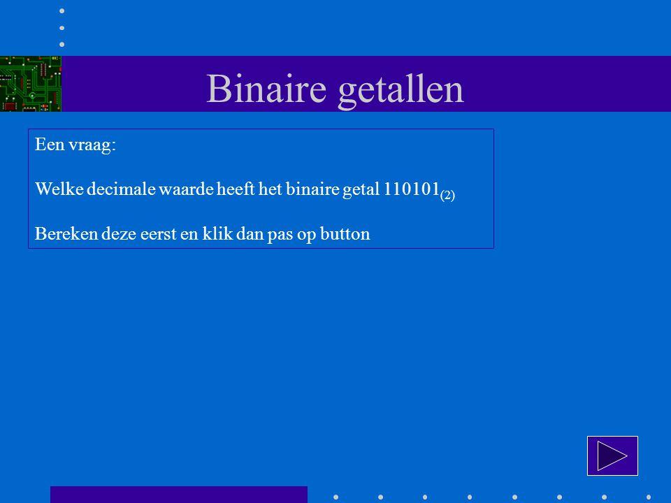 Binaire getallen Een vraag: Welke decimale waarde heeft het binaire getal 110101 (2) Bereken deze eerst en klik dan pas op button