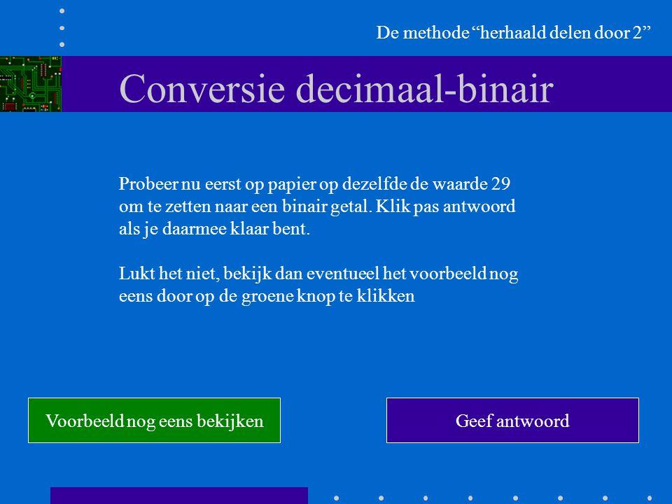 Conversie decimaal-binair De methode herhaald delen door 2 Probeer nu eerst op papier op dezelfde de waarde 29 om te zetten naar een binair getal.