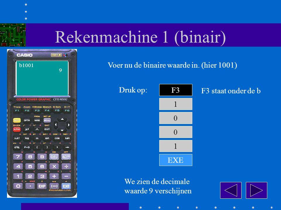 Rekenmachine 1 (binair) F3 Druk op: 1 b1001 Voer nu de binaire waarde in.
