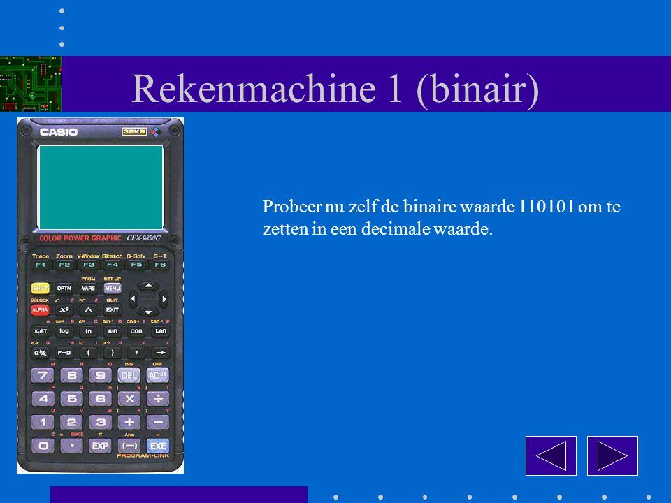 Rekenmachine 1 (binair) Probeer nu zelf de binaire waarde 110101 om te zetten in een decimale waarde.