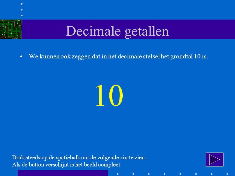 Decimale getallen We kunnen ook zeggen dat in het decimale stelsel het grondtal 10 is.