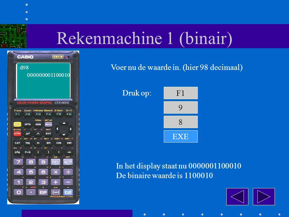 Rekenmachine 1 (binair) F1 Druk op: 9 In het display staat nu 0000001100010 De binaire waarde is 1100010 d98 Voer nu de waarde in.