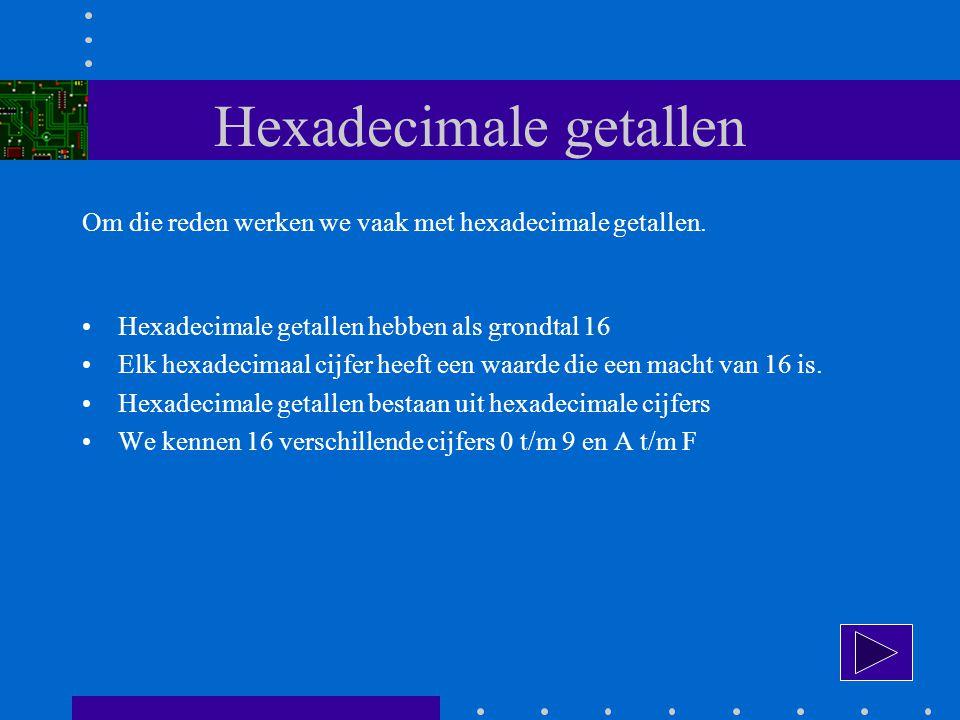 Hexadecimale getallen Om die reden werken we vaak met hexadecimale getallen.