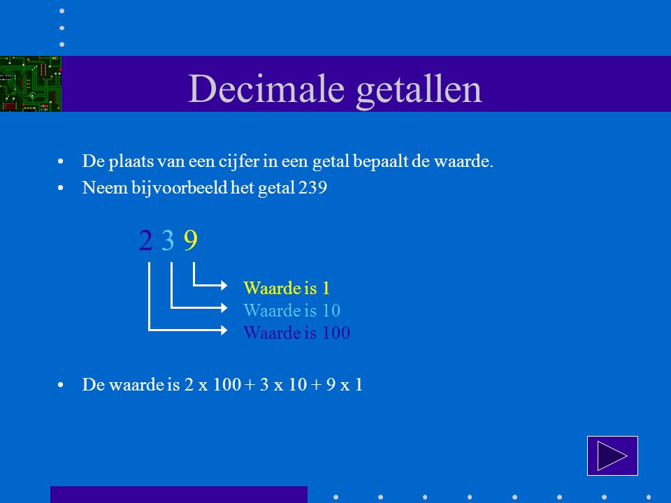 Decimale getallen De waarden 1, 10 en 100 zijn machten van 10.