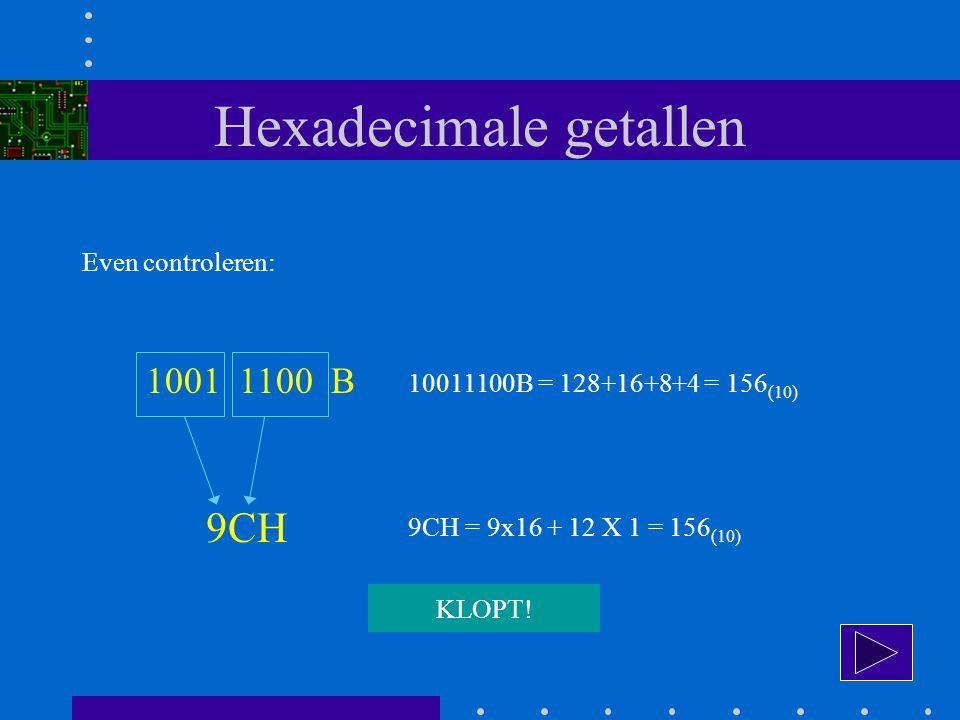 Hexadecimale getallen Even controleren: 1001 1100 B 9CH 10011100B = 128+16+8+4 = 156 (10) 9CH = 9x16 + 12 X 1 = 156 (10) KLOPT!