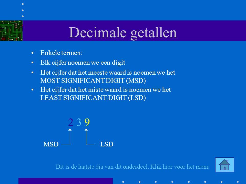 Conversie Hex - Bin 1 1 0 1 0 Verdeel eerst het binaire getal in groepen van 4 bits Begin vanaf de LSB 4 bits = A 4 bits = 5 De resterende bits aanvullen met nullen tot 4 bits 0 4 bits = 3