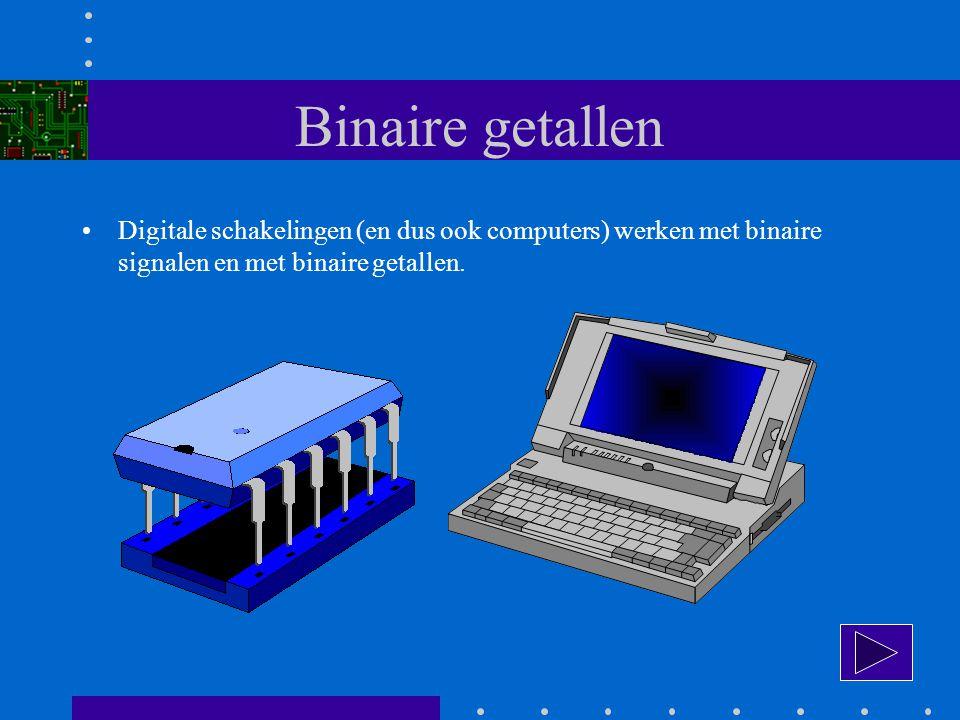 Binaire getallen Digitale schakelingen (en dus ook computers) werken met binaire signalen en met binaire getallen.
