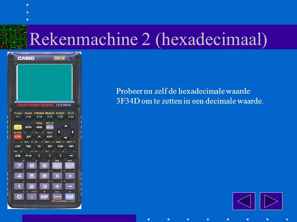 Probeer nu zelf de hexadecimale waarde 3F34D om te zetten in een decimale waarde.