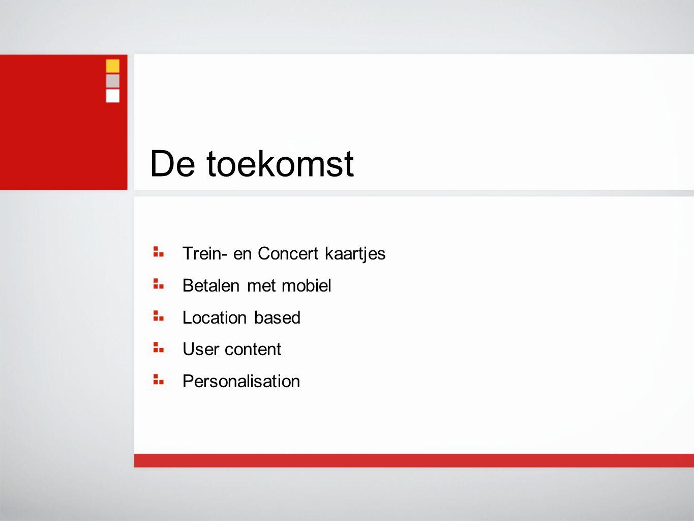 Trein- en Concert kaartjes Betalen met mobiel Location based User content Personalisation