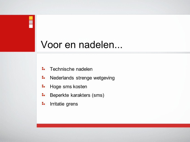 Technische nadelen Nederlands strenge wetgeving Hoge sms kosten Beperkte karakters (sms) Irritatie grens