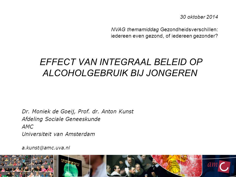 EFFECT VAN INTEGRAAL BELEID OP ALCOHOLGEBRUIK BIJ JONGEREN Dr. Moniek de Goeij, Prof. dr. Anton Kunst Afdeling Sociale Geneeskunde AMC Universiteit va